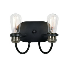 Industrial Edison Bulb Sconce Black with Brass 9.375-Inch by Kenroy Home Lighting