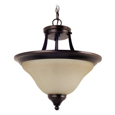 Sea Gull Lighting Brockton Burnt Sienna LED Pendant Light with Bowl / Dome Shade
