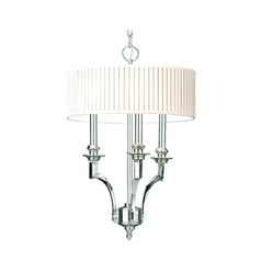Drum Pendant Light with White Shade in Polished Nickel Finish