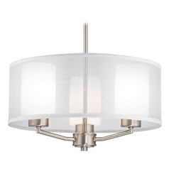 Organza Drum Pendant Light Satin Nickel 3-Light