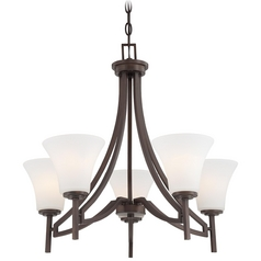 Chandelier with White Glass in Harvard Court Bronze Finish