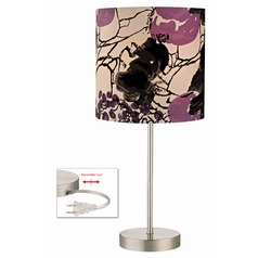 Drum Table Lamp with with Flower Print Shade
