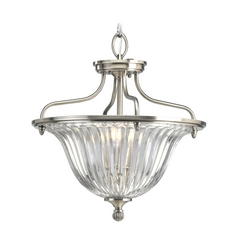 Progress Crystal Ceiling Semi-Flushmount Light with Clear Glass