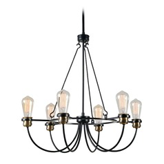 Industrial Edison Bulb Chandelier Black with Brass 25.5-Inch by Kenroy Home Lighting