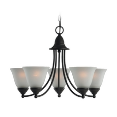 Chandelier with White Glass in Heirloom Bronze Finish