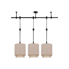 Sea Gull Lighting Pendant Light with Beige / Cream Shades in Antique Bronze Finish 94488-71