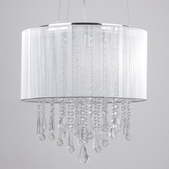Beverly Drive Crystal Pendant with Silver Drum Lamp Shade
