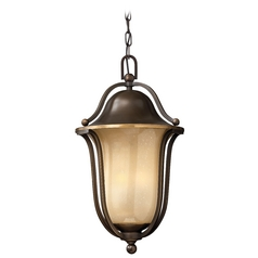 Outdoor Hanging Light with Amber Glass in Olde Bronze Finish