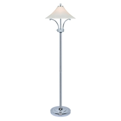 Lite Source Lighting Ragnar Chrome Floor Lamp with Fluted Shade