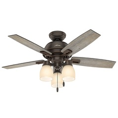44-Inch Hunter Fan Donegan LED Ceiling Fan with Light - Onyx Bengal Finish