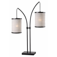 Kenroy Home Lanterna Oil Rubbed Bronze with Gold Highlights Table Lamp with Cylindrical Shade
