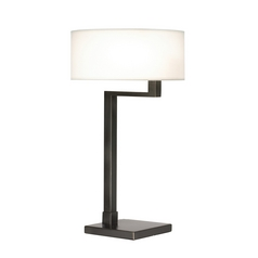 Modern Table Lamp with White Shade in Black Brass Finish