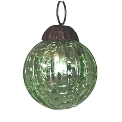 Green Crackle Christmas Tree Ornament - 2-Inches Wide