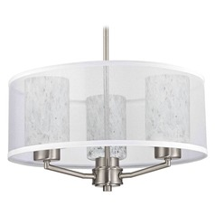 Design Classics Palatine Fuse Satin Nickel Pendant Light with Cylindrical Shade
