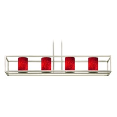 Red Art Glass Linear Chandelier 4-Lights in Satin Nickel