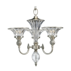 Progress Crystal Chandelier with Clear Glass in Classic Silver Finish