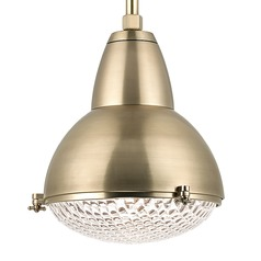 Hudson Valley Lighting Belmont Aged Brass Pendant Light with Bowl / Dome Shade