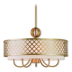 Livex Lighting Arabesque Soft Gold Pendant Light with Drum Shade