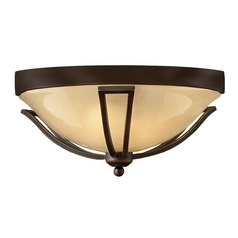 Close To Ceiling Light with Amber Glass in Olde Bronze Finish