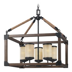 Sea Gull Lighting Dunning Stardust / Cerused Oak Pendant Light with Cylindrical Shade