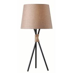 Kenroy Home Trio Bronze with Rope Accents Table Lamp with Empire Shade