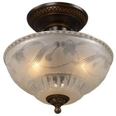 Semi-Flushmount Bronze Ceiling Light with Frosted Glass