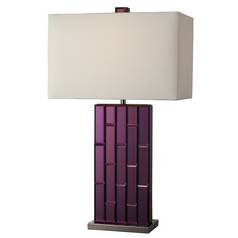 Modern Table Lamp with White Shade in Purple Mirror and Black Nickel Finish