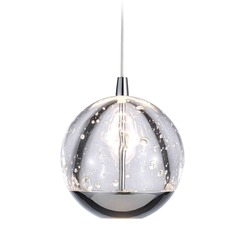 Design Classics Oui Chrome LED Mini-Pendant Light with Globe Shade
