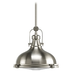 Progress Pendant Light with White Glass in Brushed Nickel Finish