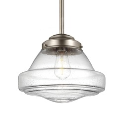 Schoolhouse Pendant Light Seeded Glass Satin Nickel 12-Inch Wide by Feiss Lighting