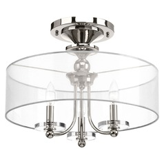 Polished Nickel Semi-Flush Light Drum Shade 3-Lt by Progress Lighting