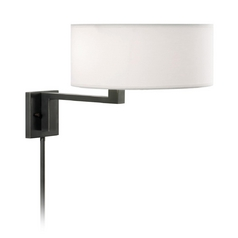 Modern Swing Arm Lamp with White Shade in Black Brass Finish
