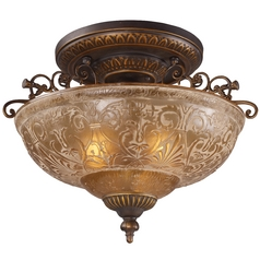 Semi-Flushmount Light with Amber Glass in Golden Bronze Finish