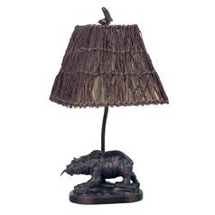 CAL Lighting Bear Accent Lamp with Wicker Shade BO-878