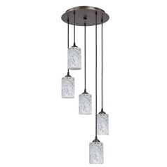 Design Classics Lighting Modern Multi-Light Pendant Light with Grey Art Glass and 5-Lights 580-220 GL1025C
