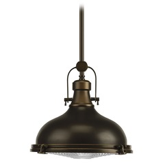 Progress Pendant Light with White Glass in Oil Rubbed Bronze Finish