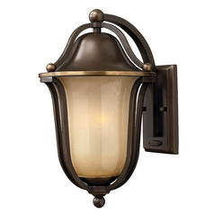 Outdoor Wall Light with Amber Glass in Olde Bronze Finish