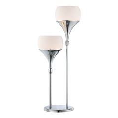 Modern Table Lamp with White Glass in Polished Chrome Finish