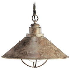 Kichler Nautical Pendant Light in Olde Brick Finish with Bulb Cage