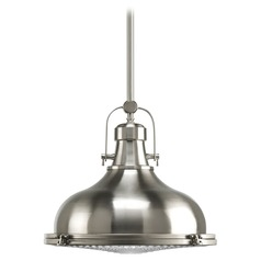 Progress Nautical Style Pendant Light in Satin Nickel Finish