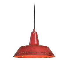 Barn Light Pendant Red 14-inch Wide by Uttermost Lighting