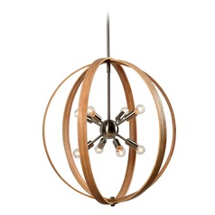 Mid-Century Modern Pendant Light Bronze with Light Wood Needlework by Kenroy Home