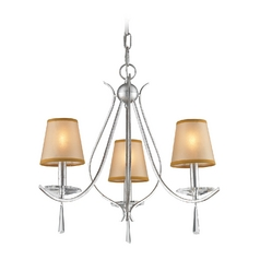Mini-Chandelier with Beige / Cream Shades in Silver Finish