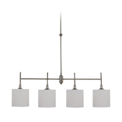 Drum Island Light with White Shades in Brushed Nickel Finish