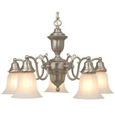 Design Classics Lighting Satin Nickel Chandelier with Alabaster Glass Shades 20022-09
