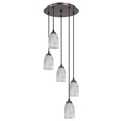 Design Classics Lighting Modern Multi-Light Pendant with Dome Art Glass And Five-Lights 580-220 GL1025D