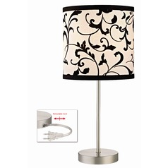 Table Lamp with Black & White Filigree Drum Shade