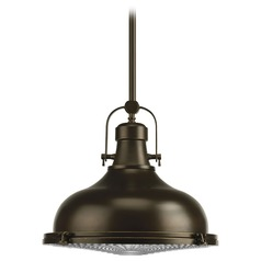 Farmhouse Pendant Light Prismatic Glass Oil Rubbed Bronze Fresnel Lens by Progress Lighting