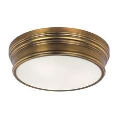 Nautical Flushmount Light in Natural Aged Brass Finish