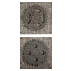 Uttermost Rustic Gears Wall Art, Set of 2